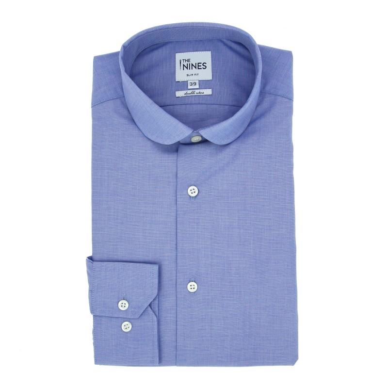 Chemise mousquetaire fil à fil bleu col rond slim fit
