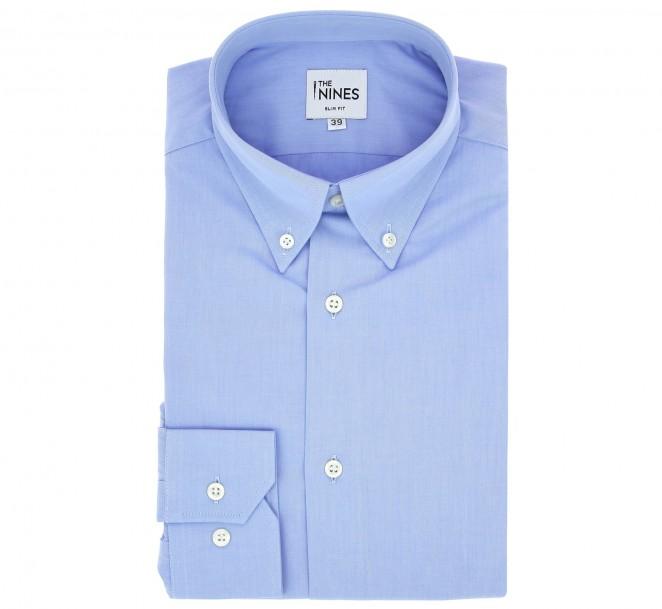 Chemise oxford bleue col boutonné sous patte poignets simples coupe regular
