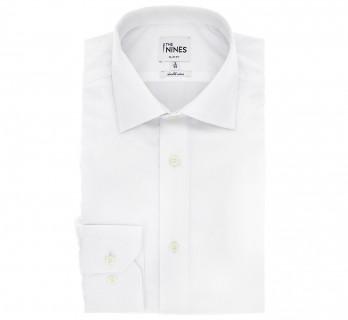 Weisses doppeltgen?htes slim-fit Popeline-Hemd mit italienischem Kragen und einfachen Manschetten