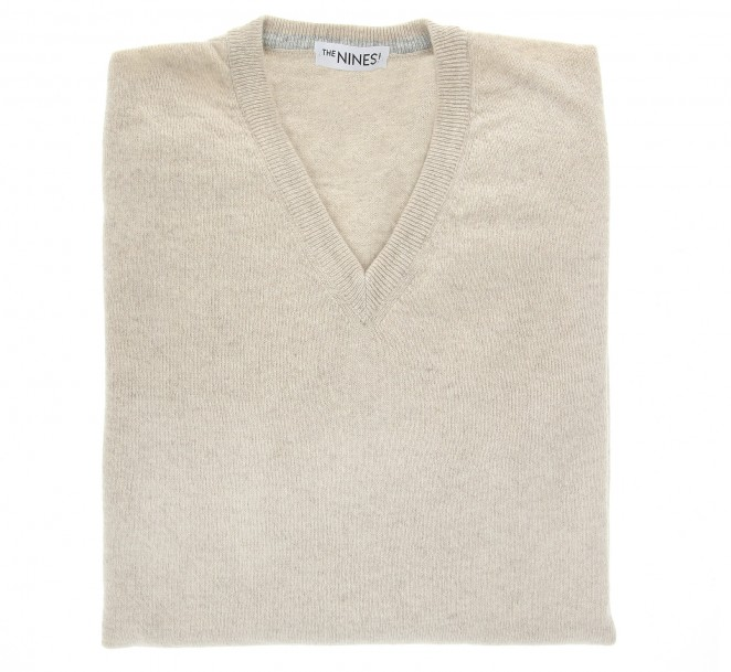V-Ausschnitt beige Pullover aus Lammwolle