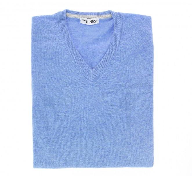 V-Ausschnitt himmelblauer Pullover aus Lammwolle