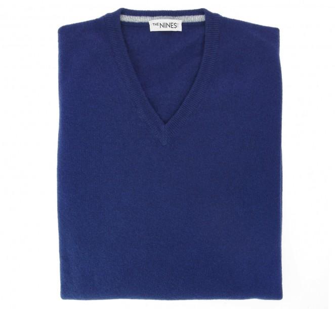 V-Ausschnitt blauer Pullover aus Lammwolle