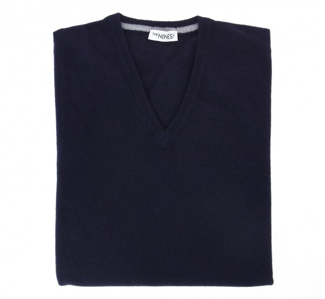 V-Ausschnitt marineblau Pullover aus Lammwolle