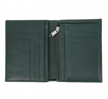 Portefeuille vertical vert en cuir - MIL