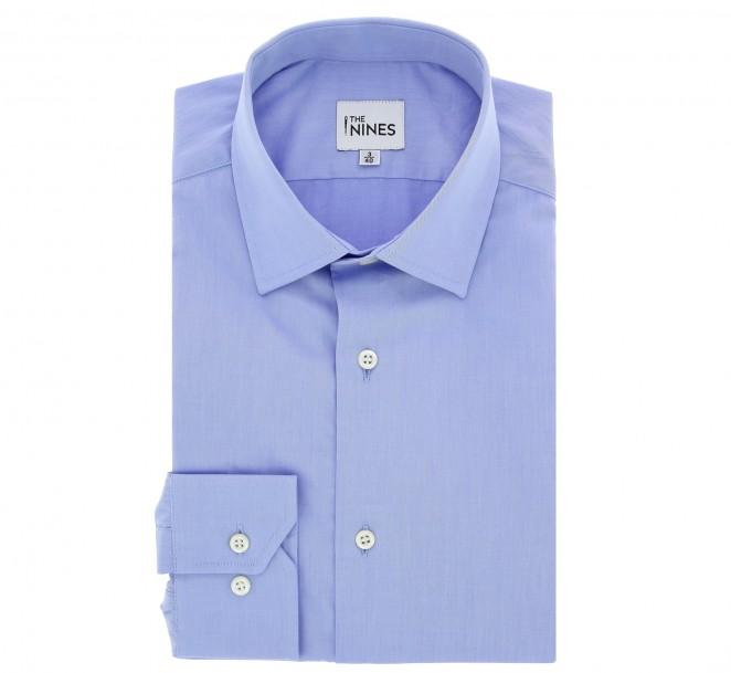 Chemise popeline bleu col anglais coupe cintrée