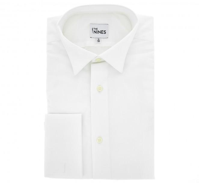 Weisses slim-fit Popeline-Hemd mit Umschlagmanschette mit Klappkragen f?r K?nstlerschleife