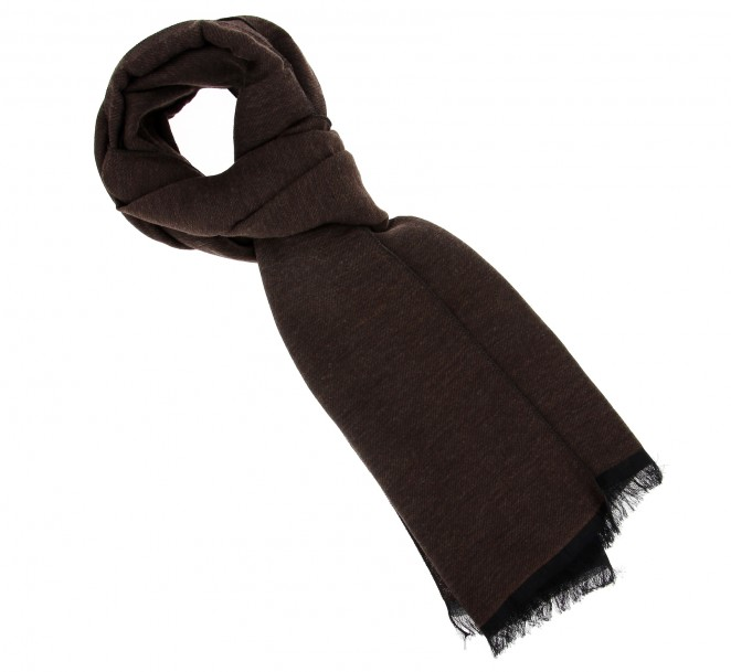 Echarpe homme marron chocolat à motifs - Clovis