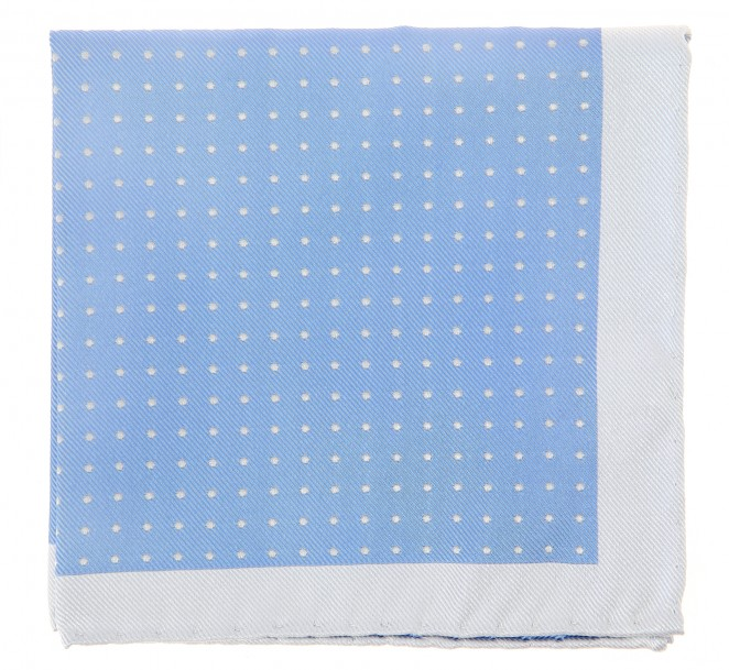 Himmelblaues The Nines Einstecktuch mit lichtgrauen Punkten