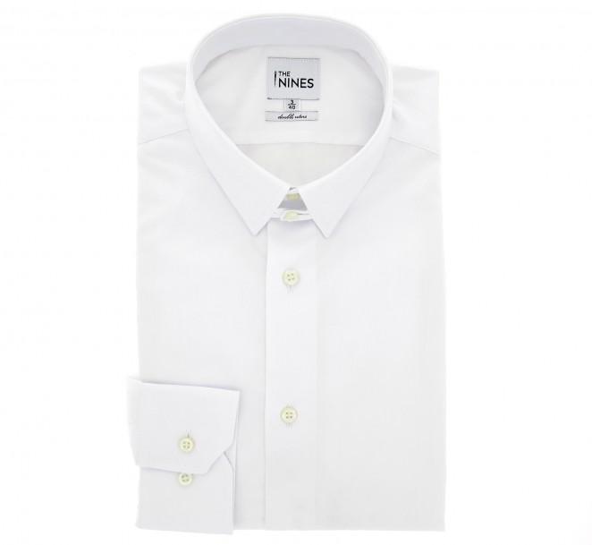 Weisses slim-fit Popelinehemd mit englischem Kragen und einfachen Manschetten