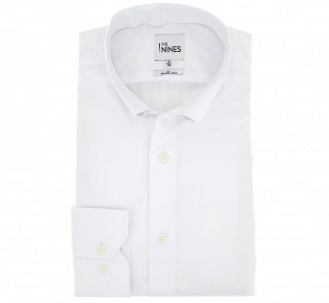 Weisses doppelgen?htes slim-fit Popeline-Hemd mit Krempelkragen und einfachen Manschetten