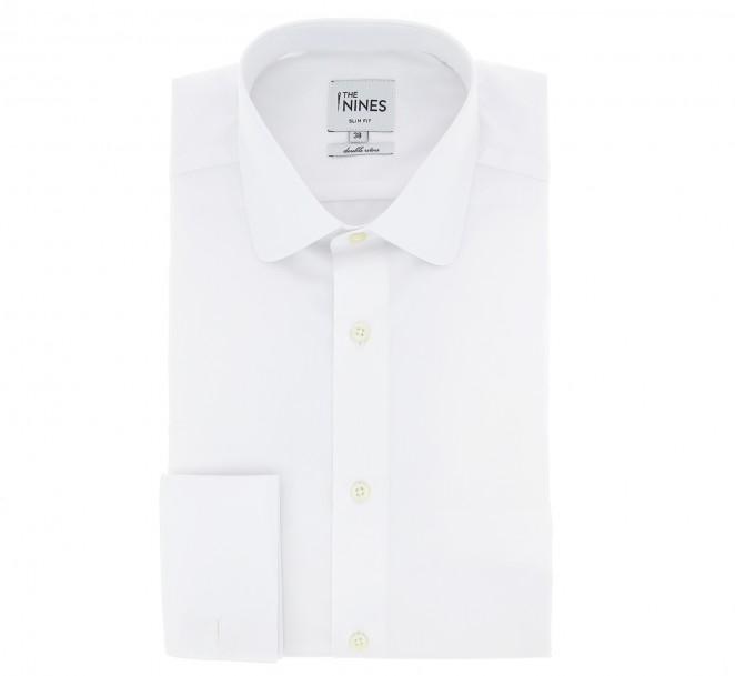 Chemise popeline blanche col italien coupe standard