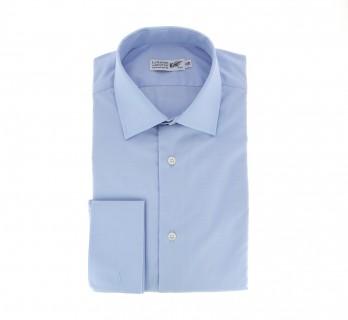 Blaues slim-fit Hemd mit Umschlagmanschette mit italienischem Kragen