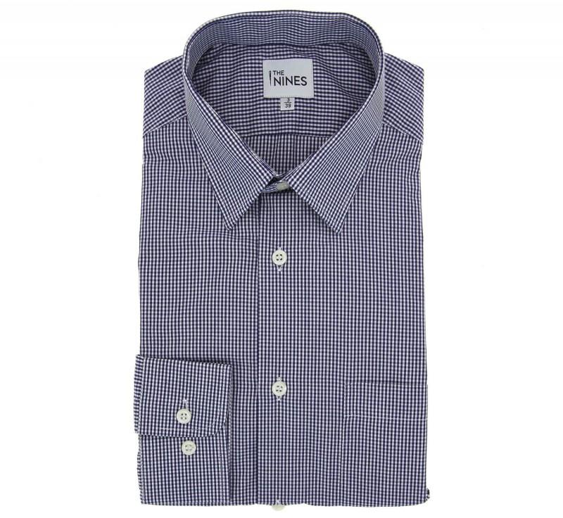 Marineblaukariertes regular-fit Hemd mit franz?sischem Kragen und einfachen Manschetten