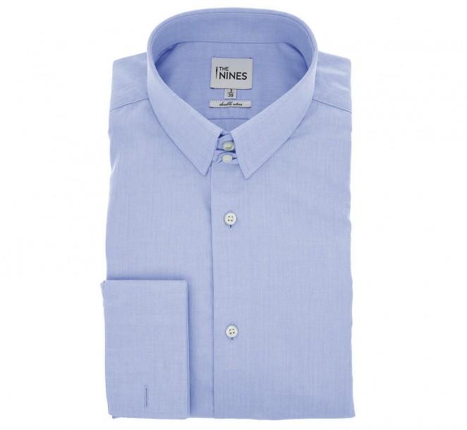 Blaues doppelgen?htes regular-fit Fischgr?ten-Hemd mit Umschlagmanschette mit englischem Kragen