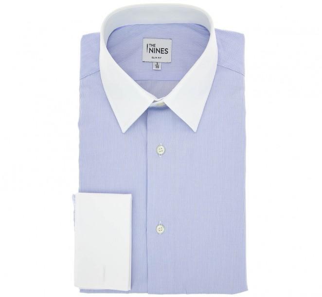 Himmelblau-weiss gestreiftes slim-fit Hemd mit Umschlagmanschette mit franz?sischem Kragen