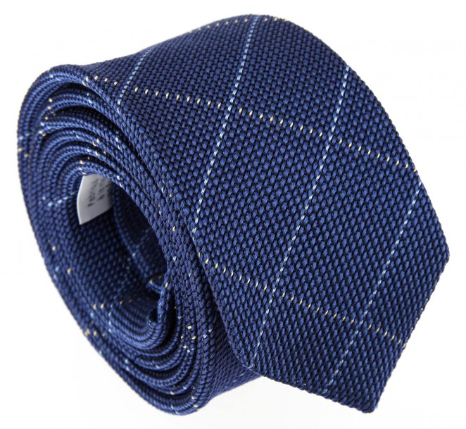 Blaue The Nines Krawatte aus Grenadinen und himmelblau schottenmuster-Seide - Grenadines IV