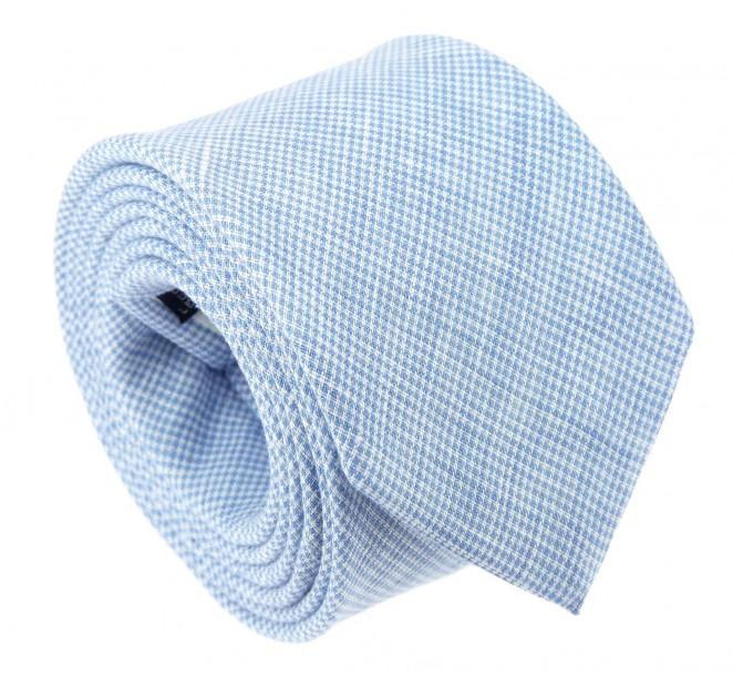 The Nines Himmelblaue Baumwolle-Krawatte im Hahnentrittmuster