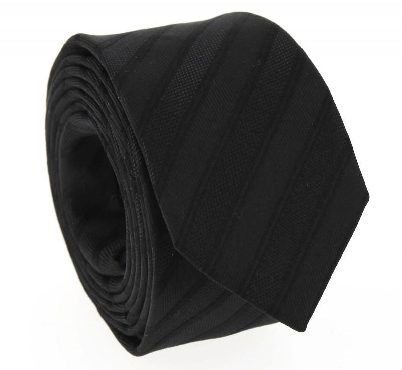 Schwarz gestreifte Slim-Krawatte - Berkeley II