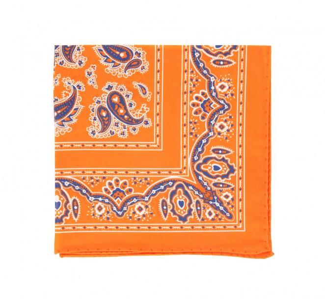 Orange Einstecktuch mit marineblauem Kaschmirmotiv - Cachemire
