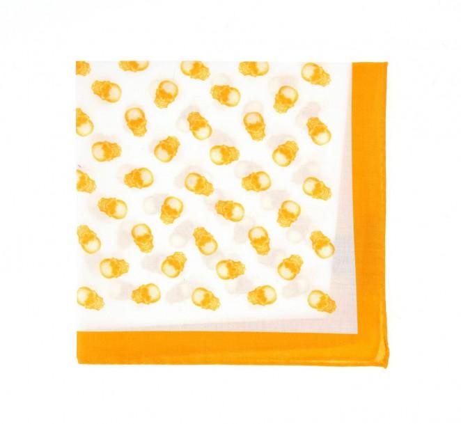 Weisses Einstecktuch mit gelbem Totenknopfmotiv - Saint-domingue II