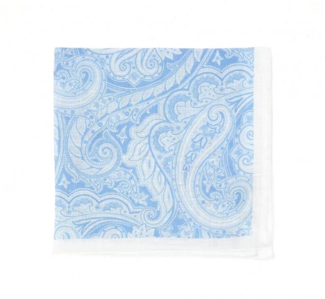 Himmelblaues Einstecktuch mit kaschmirmotiv  - Paisley V