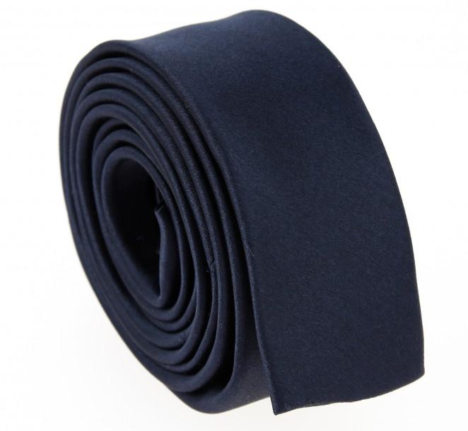 Marineblaue Satin Slim-krawatte - Monaco III