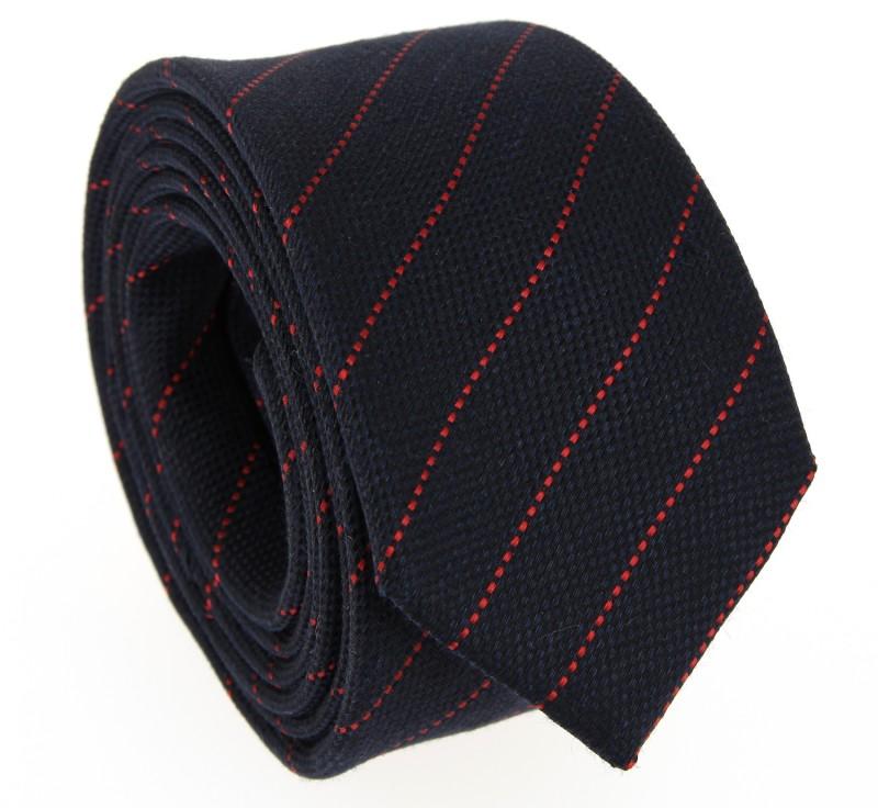 Marineblaue Krawatte mit roten Streifen
