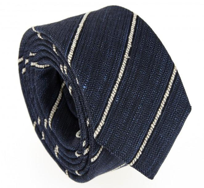 Denimblaue Krawatte mit weißen Streifen - Milton