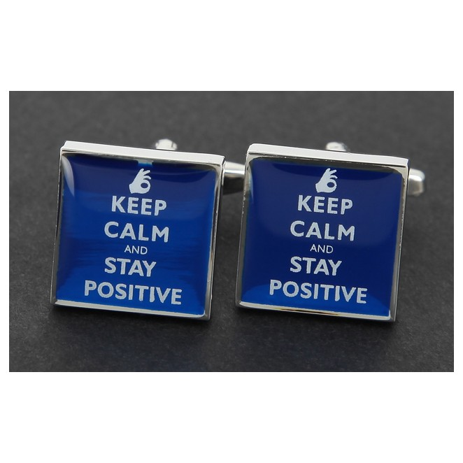 Spruch Manschettenknöpfe - Keep Calm and Stay Positive