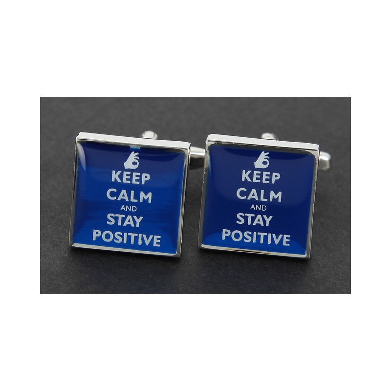 Spruch Manschettenknöpfe - Keep Calm and Stay Positive