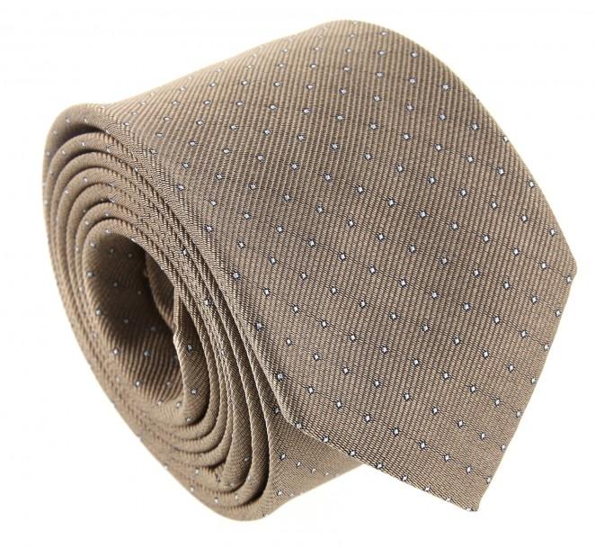 Beige Krawatte mit weißen Punkten - Washington II
