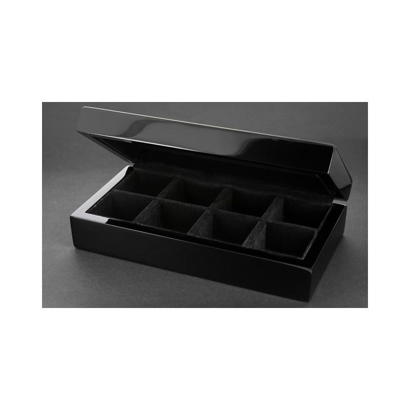 Manschettenknöpfe Ordnungskiste aus schwarz lackiertem Holz