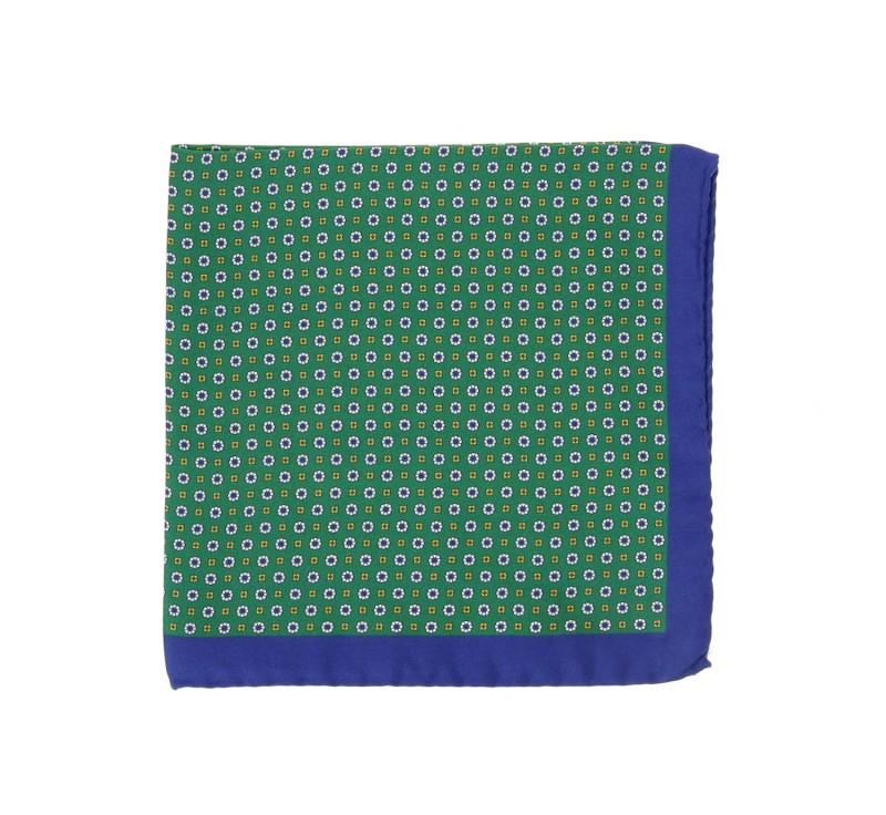 Grünes Einstecktuch mit nachtblauem Saum - Saint Raphael