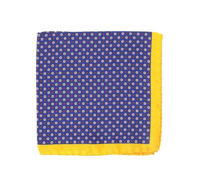 Marineblaues Einstecktuch mit gelbem Saum - Saint Raphael