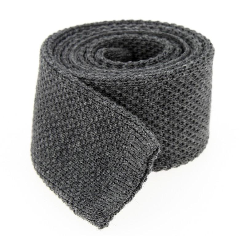 Graue Hugo Boss Woll-Strickkrawatte