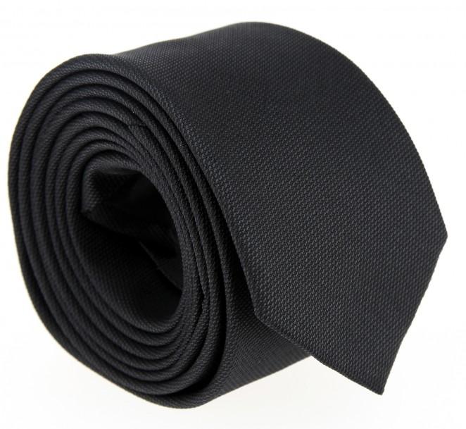 Anthrazitgraue Hugo Boss Slim-Krawatte aus geflochtener Seide