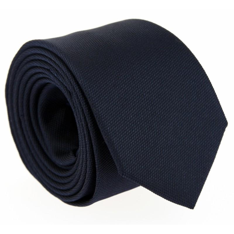 Marineblaue Hugo Boss Slim-Krawatte aus geflochtener Seide