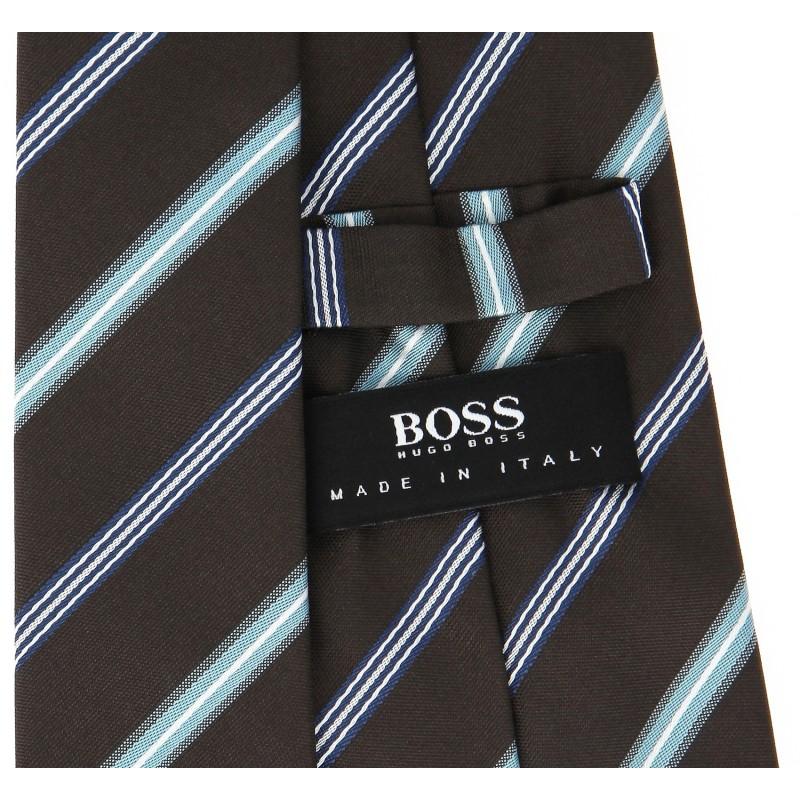 braune hugo boss krawatte mit blauen streifen das. Black Bedroom Furniture Sets. Home Design Ideas