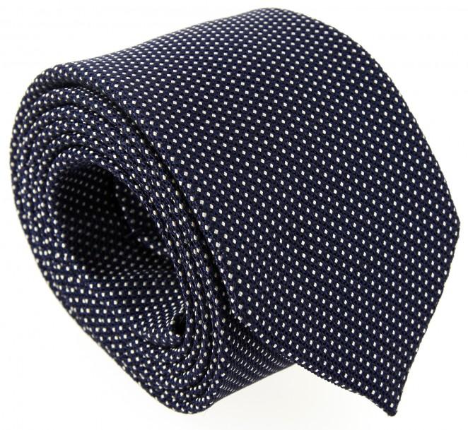 Marineblaue und weisse Geflochtene Seide Breuer Krawatte