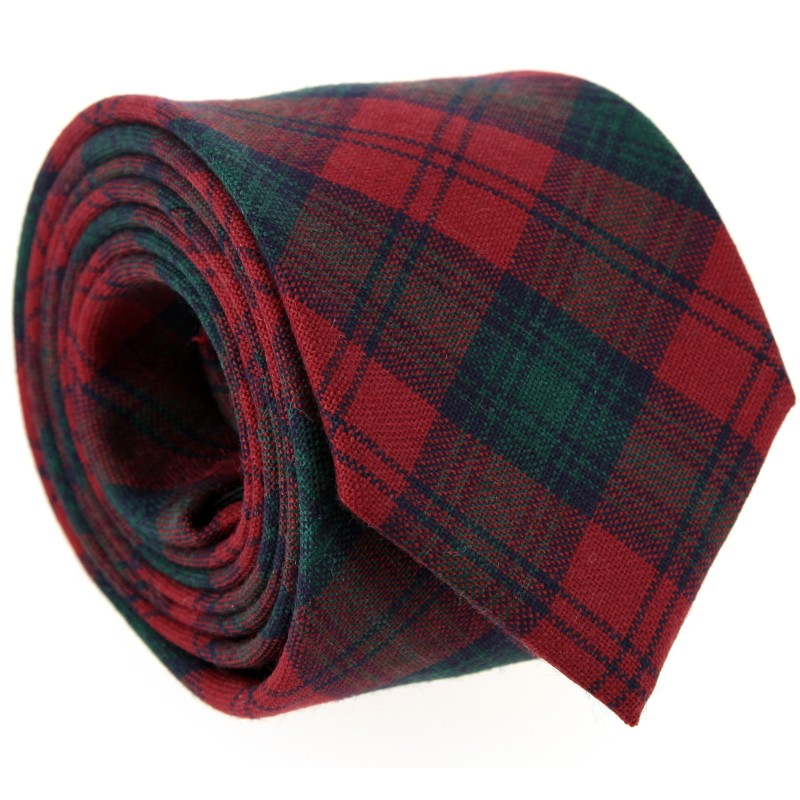 Dunkelrote, grün und marineblau Tartan The Nines-Krawatte - Dunbar III