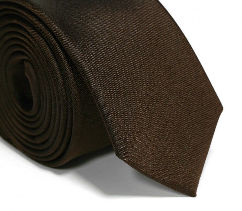 Schokoladenfarbene Slim-Krawatte - Siena II
