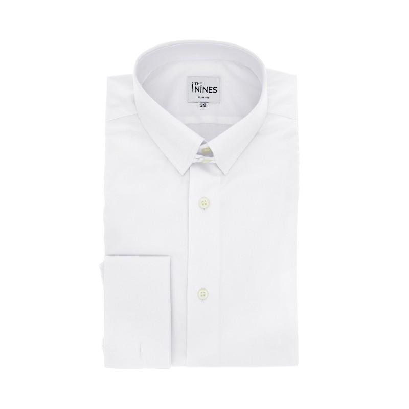 Weisses slim-fit Popeline-Hemd mit Umschlagmanschette mit englischem Kragen