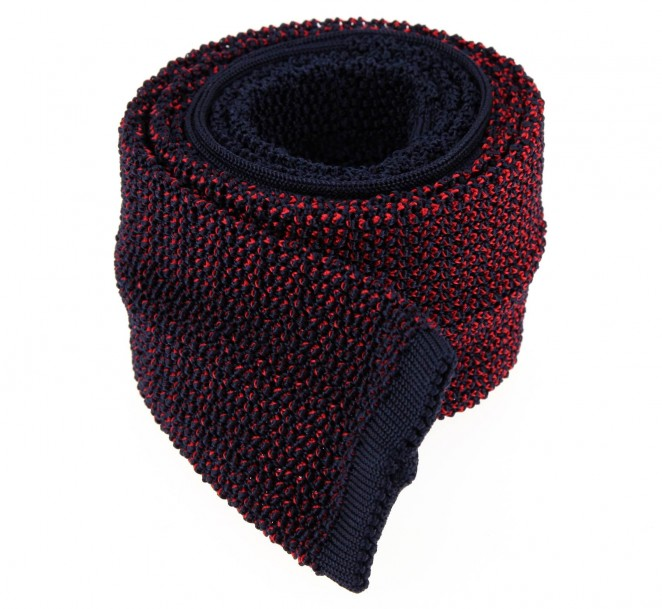 Ascot marineblau mit roten motiven Strickkrawatte