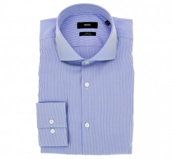 Chemise Hugo Boss bleue à rayures blanches col italien poignets simples coupe slim