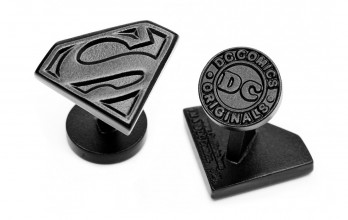 Superman Manschettenknöpfe - Satin Black Superman Shield