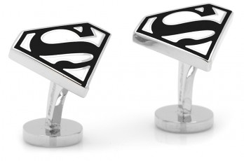 Superman Manschettenknöpfe - Enamel Black and White Superman Shield