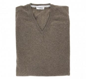 V-Ausschnitt brauner Pullover aus Lammwolle