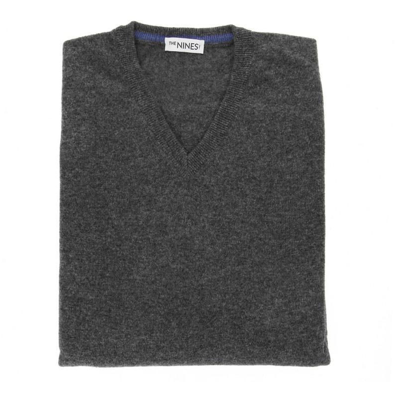 V-Ausschnitt grau anthrazit Pullover aus Lammwolle