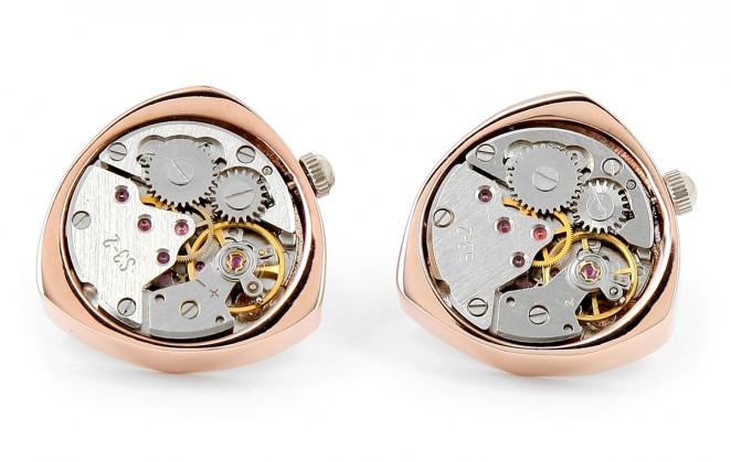 Uhrwerk-Manschettenknöpfe - Schaffhausen Triangle Rose Gold