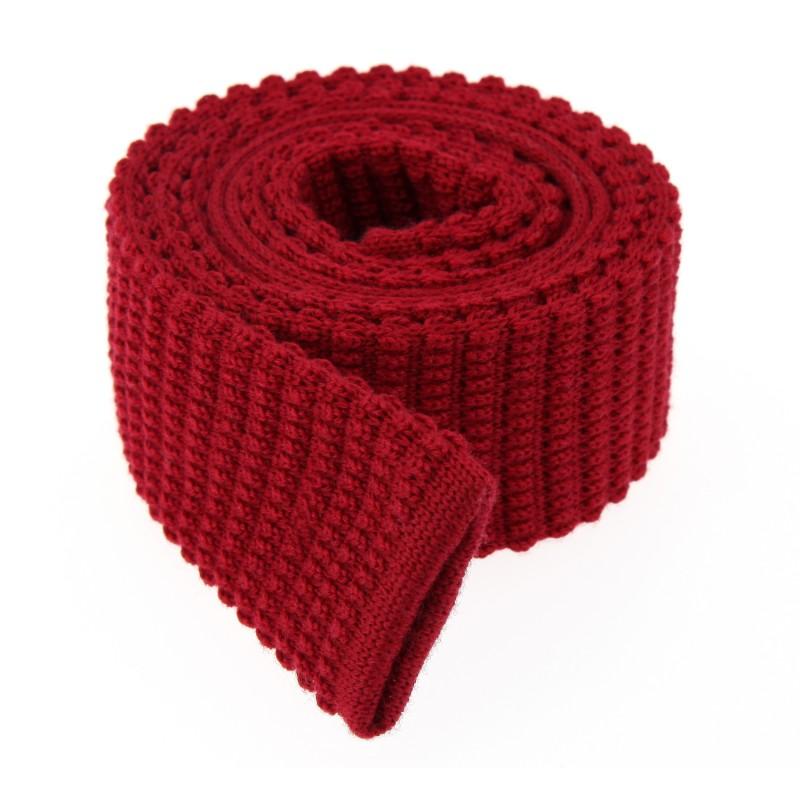 Rote Slim-WollStrickkrawatte - Legnano II